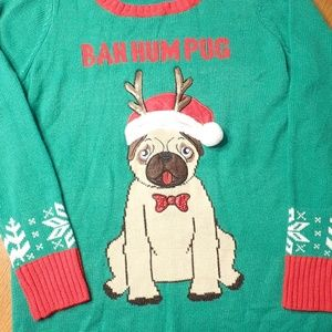 Bah Hum Pug Christmas Sweater Dress